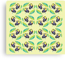Girly Toucans and tropical leaves pattern Canvas Print