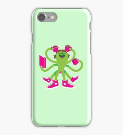Crazy green alien girl with coffee cups, sneakers and a book. iPhone Case/Skin