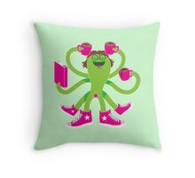 Crazy green alien girl with coffee cups, sneakers and a book. Throw Pillow