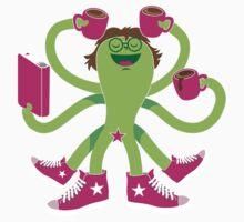 Crazy green alien girl with coffee cups, sneakers and a book. Kids Tee