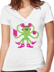 Crazy green alien girl with coffee cups, sneakers and a book. Women's Fitted V-Neck T-Shirt