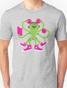 Crazy green alien girl with coffee cups, sneakers and a book. Unisex T-Shirt