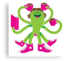 Crazy green alien girl with coffee cups, sneakers and a book. Canvas Print