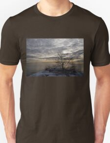 Early Morning Tree Silhouette on Silver Sky Unisex T-Shirt