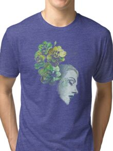 Obey Me - girl with flowers Tri-blend T-Shirt