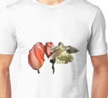Red tulip flowers and yellow daffodil flower stained glass photo art. Unisex T-Shirt
