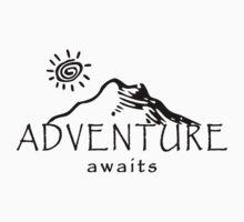 Adventure Awaits - Mountain and Sun ( Dark Version)  One Piece - Short Sleeve