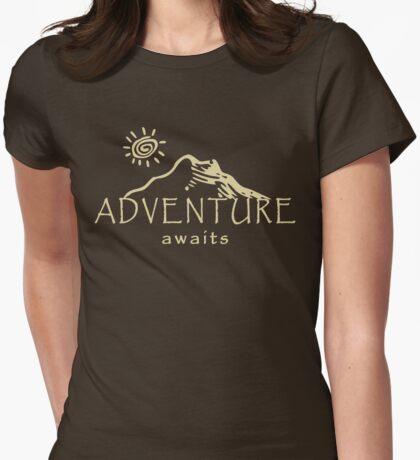Adventure Awaits - Mountain and Sun ( Light Version)  Womens Fitted T-Shirt