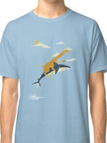 Giraffe riding shark Classic T-Shirt
