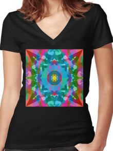 Screaming In Neon Women's Fitted V-Neck T-Shirt