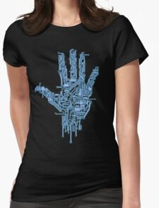 Neon Blue Circuit Womens Fitted T-Shirt