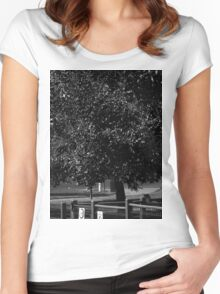 Black and White Nature Women's Fitted Scoop T-Shirt