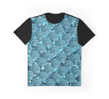 Teal Sparkle Seashells Pattern Graphic T-Shirt