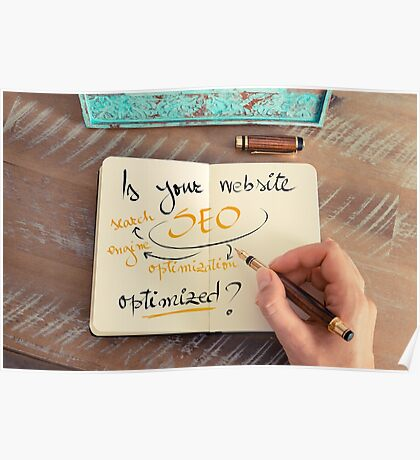 Handwritten text Is your Website SEO optimized ? Poster