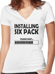 installing sixpack Women's Fitted V-Neck T-Shirt