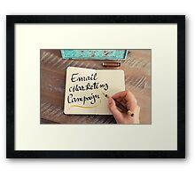 Handwritten text Email Marketing Campaign Framed Print