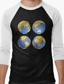 three-dimensional model of the planet earth Men's Baseball ¾ T-Shirt