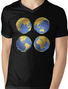 three-dimensional model of the planet earth Mens V-Neck T-Shirt