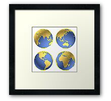 three-dimensional model of the planet earth Framed Print