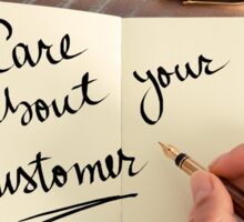 Handwritten text Care About Your Customer Sticker