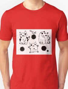 Funny cute ink splashes cats. Unisex T-Shirt