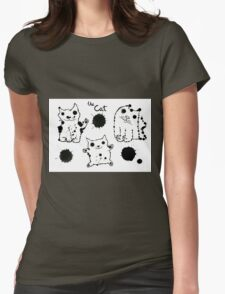 Funny cute ink splashes cats. Womens Fitted T-Shirt