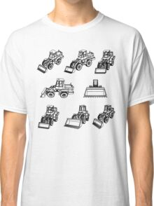 Bulldozer. Eight 3D projection vector. Classic T-Shirt