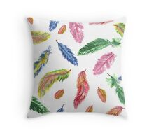 Hand drawn watercolor feathers. Seamless pattern.  Throw Pillow