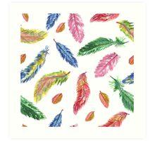 Hand drawn watercolor feathers. Seamless pattern.  Art Print