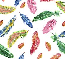 Hand drawn watercolor feathers. Seamless pattern.  by TrishaMcmillan