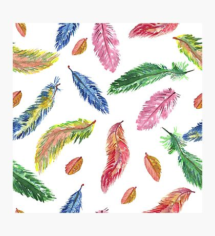 Hand drawn watercolor feathers. Seamless pattern.  Photographic Print