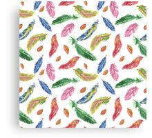Hand drawn watercolor feathers. Seamless pattern.  Canvas Print
