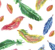 Hand drawn watercolor feathers. Seamless pattern.  Sticker