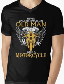 Never Underestimate Old Man With A Motorcycle Mens V-Neck T-Shirt