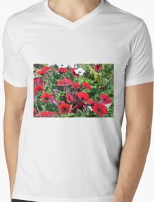 Beautiful red flowers in the park. Mens V-Neck T-Shirt