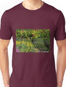 Many colorful flowers in the garden. Unisex T-Shirt
