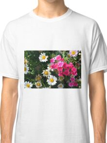 Colorful pink and white flowers in the garden. Classic T-Shirt
