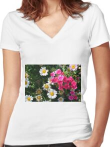 Colorful pink and white flowers in the garden. Women's Fitted V-Neck T-Shirt