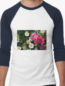 Colorful pink and white flowers in the garden. Men's Baseball ¾ T-Shirt