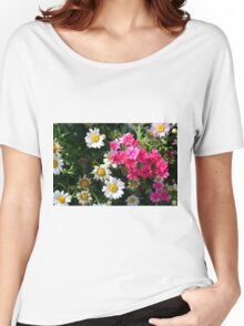 Colorful pink and white flowers in the garden. Women's Relaxed Fit T-Shirt