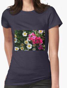 Colorful pink and white flowers in the garden. Womens T-Shirt