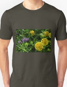 Yellow flowers, natural background. Unisex T-Shirt