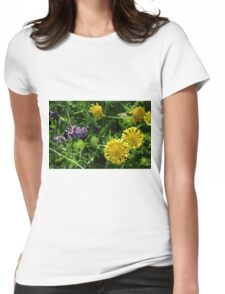 Yellow flowers, natural background. Womens Fitted T-Shirt