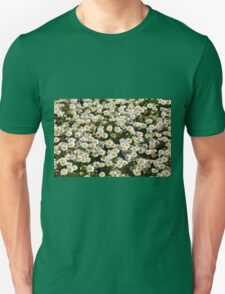 Beautiful natural background with small white flowers. Unisex T-Shirt