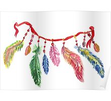 Hand drawn watercolor feathers necklace . Poster