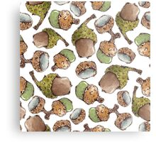 Watercolor Acorns Metal Print