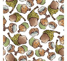 Seamless Pattern with Watercolor Acorns Photographic Print