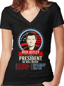 Rick Astley For President Women's Fitted V-Neck T-Shirt