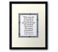 Here Come The Lovers - Shakespeare Framed Print