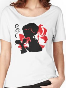 Silhouette of a Young female holding hot coffee Women's Relaxed Fit T-Shirt